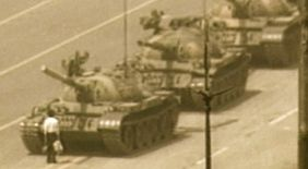 Tank Man, Tiananmen Sq.  June 4, 1989