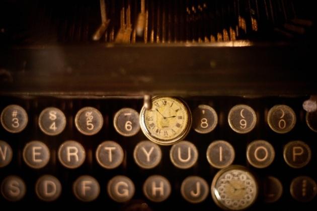 clock on typewriter